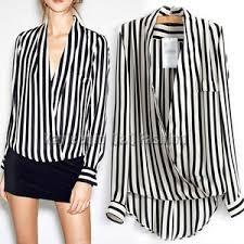 black and white striped blouse black white stripe v sleeve wrap blouse