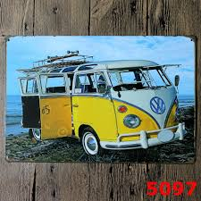 volkswagen yellow car vehicle retro vw yellow bus metal signs bar wall art painting vintage craft room