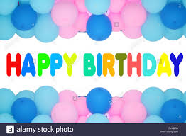 happy birthday text with balloons frame stock photo royalty free
