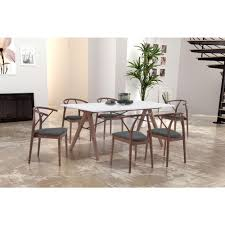 Zuo Floor L Zuo Saints Walnut And White Dining Table 100143 The Home Depot