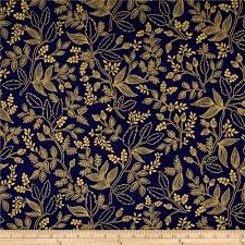 Home Decor Print Fabric by Cotton Steel Rifle Paper Co Les Fleurs Metallic Queen Anne Navy