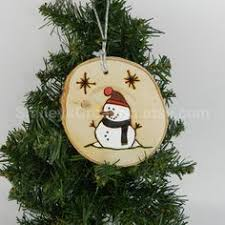 wood burned painted wood slice ornaments snowman