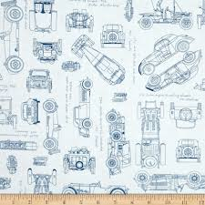 kaufman vintage blue prints auto sketch blue discount designer