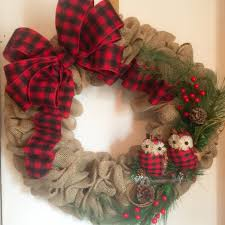 and black plaid ribbon christmas burlap owl wreath with and black buffalo plaid