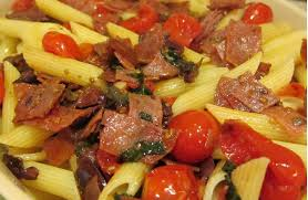 italian olives rigatoni with spicy italian salami oven roasted tomatoes olives