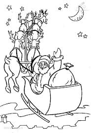 santa coloring pages for kids printable flying sleigh christmas