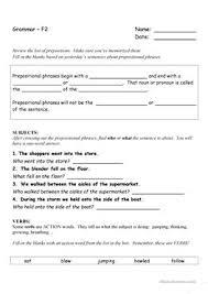 4 free esl prepositional phrases worksheets