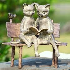 spi home reading cat on bench garden statue reviews wayfair