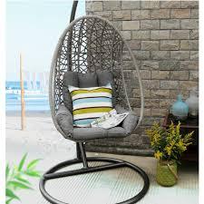Swinging Patio Chair Baner Garden Outdoor Egg Shaped Swing Chair Black Walmart Com