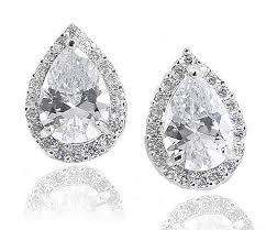 silver clip on earrings sterling silver 925 pear shaped cz halo estate clip earrings