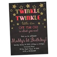 amazon com pink twinkle little star 1st birthday invitation gold