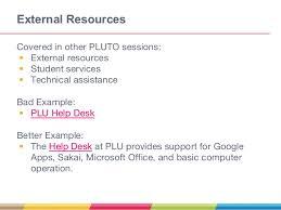 Sakai Help Desk Pluto Institute Student Course Orientation