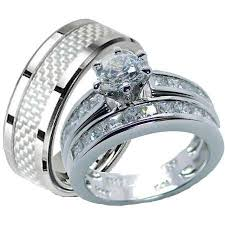 wedding set his hers sterling silver and stainless steel wedding set edwin