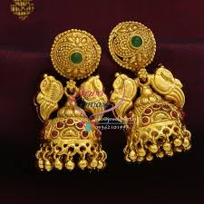 gold jhumka earrings design with price er0685 exclusive gold design jewellery online lock temple