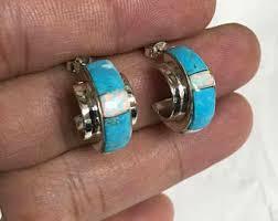 hoop huggie opal huggie earrings etsy