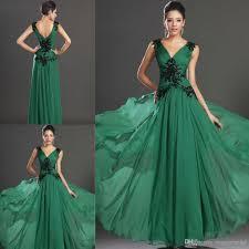 gorgeous a line emerald green evening dresses v neck empire waists