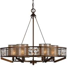 Iron And Wood Chandelier Forged Iron Wood Chandelier Mica Shades Fx 3557 6