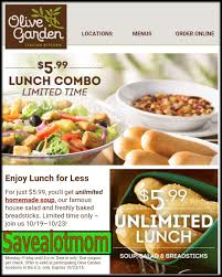 olive garden unlimited soup salad and breadsticks for 5 99 save