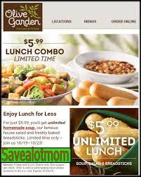 Olive Garden 5 99 For Unlimited Soup Salad - olive garden unlimited soup salad and breadsticks for 5 99 save