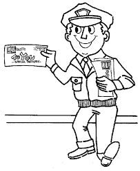 postman smiling community helpers coloring netart