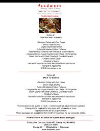 thanksgiving menu corporate foodwerx