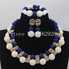 indian beads necklace images Fashion white seed beads bridal indian jewelry set royal blue jpg