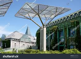 ecological modern building library warsaw poland stock photo