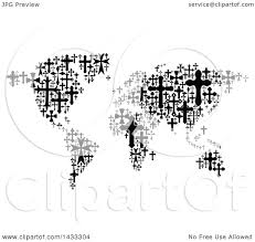 World Map Black And White Clipart Of A Black And White World Map Formed Of Crosses Royalty