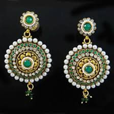 buy traditional indian jewellery earrings cz gold tone