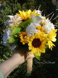 Sunflower Wedding Bouquet Bride Bouquet Sunflower Wedding Burlap Wrap Sunflower Silk Calla