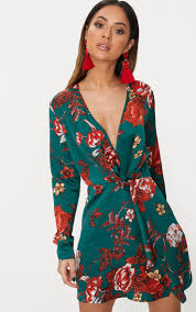 sleeve wrap dress emerald green floral satin sleeve wrap dress