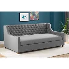 upholstered twin daybed jordyn grey linen walmart com 12 standard