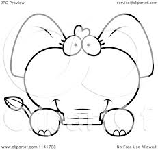 cartoon clipart of a black and white cute baby elephant looking