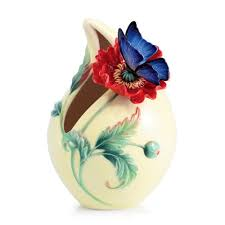 Franz Butterfly Vase Sweetheart Poppy And Butterfly Porcelain Vase By Franz