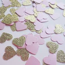 gold and pink confetti blush pink baby shower wedding decor