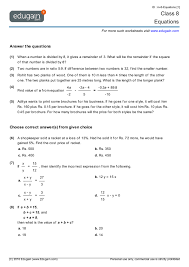 grade 8 math worksheets and problems equations edugain global
