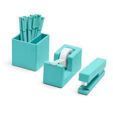 Blue Desk Accessories Aqua Starter Set Cool Office Supplies Poppin