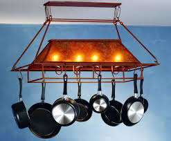 rustic kitchen ideas with kitchen island lighted pot rack 4