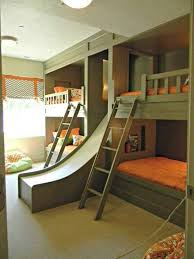 bedroom modern kids bunk bed with slide and stairs
