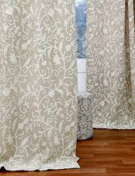 Beige Linen Curtains Antimal Crewel Curtain Panels And Drapes Hand Embroidered Cotton