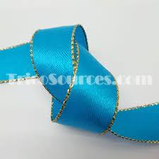teal satin ribbon trico sources inc b4011 gold edge satin ribbon faced 5
