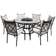 6 Seater Patio Furniture Set - lg outdoor casablanca ceramic dining firepit set 6 seater