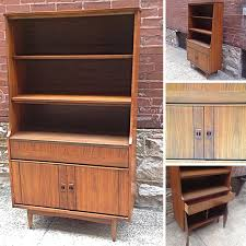 St Louis Modern Furniture by Danish Modern Style Walnut Hutch Bookcase With Optional Sliding