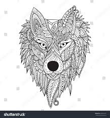 zendoodle stylize dire wolf design tattoo stock vector 689303149