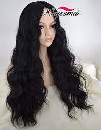 long black hair with part in the middle k ryssma realistic looking cheap wigs for black women christmas long