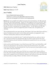 jesus u0027 baptism story summary children u0027s bible activities
