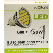 ecolight gu10 6w non dimmable warm white led bulb 50w equivalent