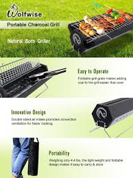wolfwise portable charcoal grill bbq camping barbecue smoker