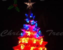 vintage style ceramic christmas tree w music box 11 in