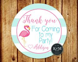 flamingo birthday party favor tag flamingo party thank you tag
